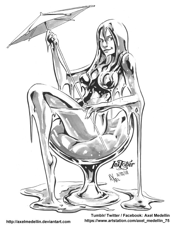 Third day of Inktober with a slimy girl. Odd.