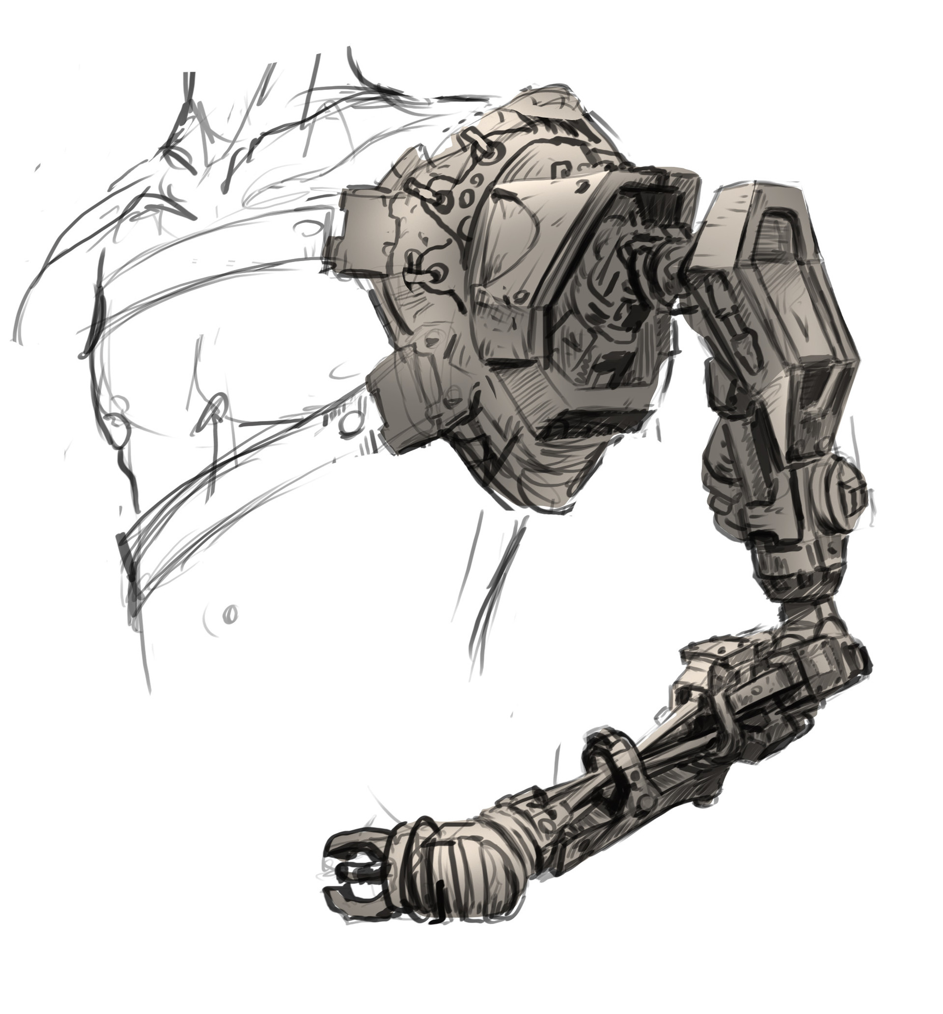 Early concept for his robotic arm