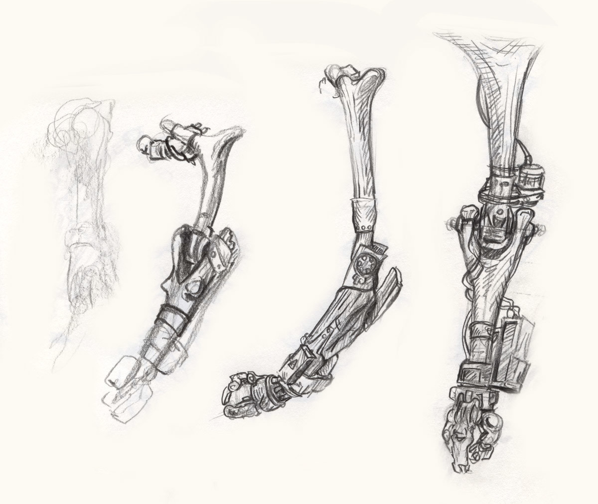 Artificial bone arm sketches