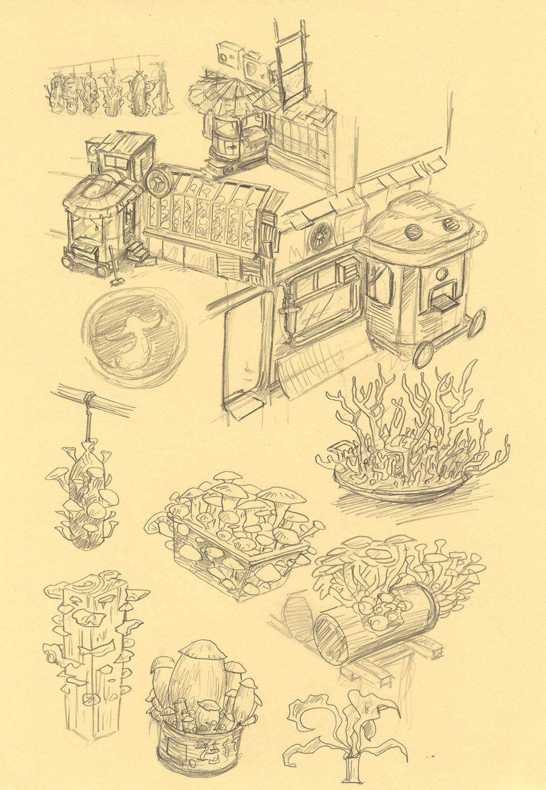 The mushroom shop concept drawing
