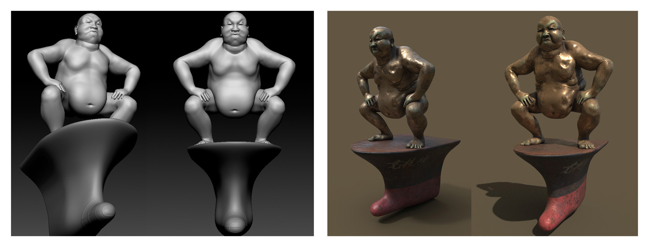 The modelled and textured Sumo-Buddha-Statue for the market scene