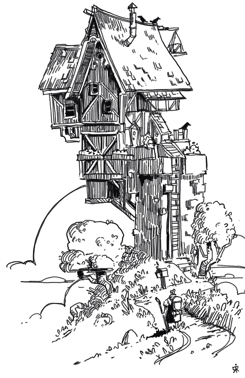 Inktober Day 2: Dilapidated House