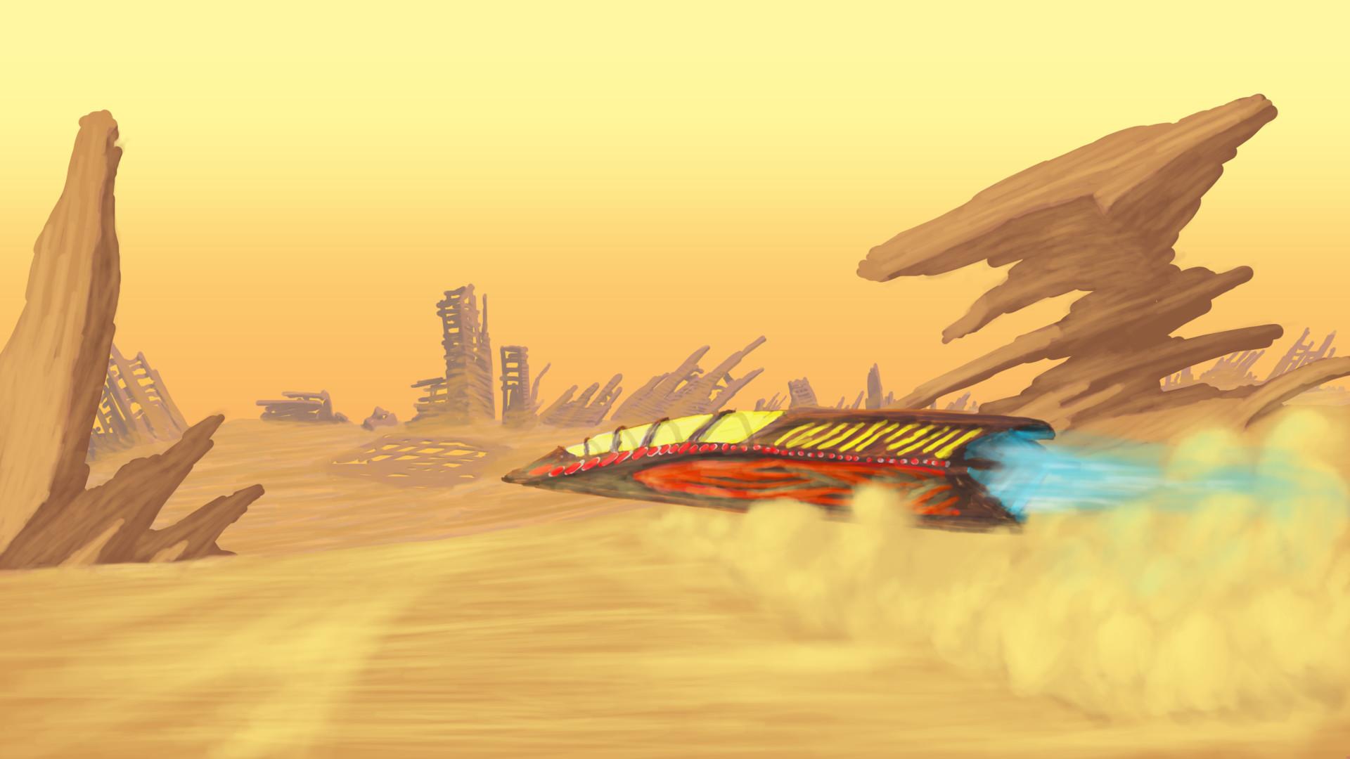 Alexander laheij desert landscape scifi racecar