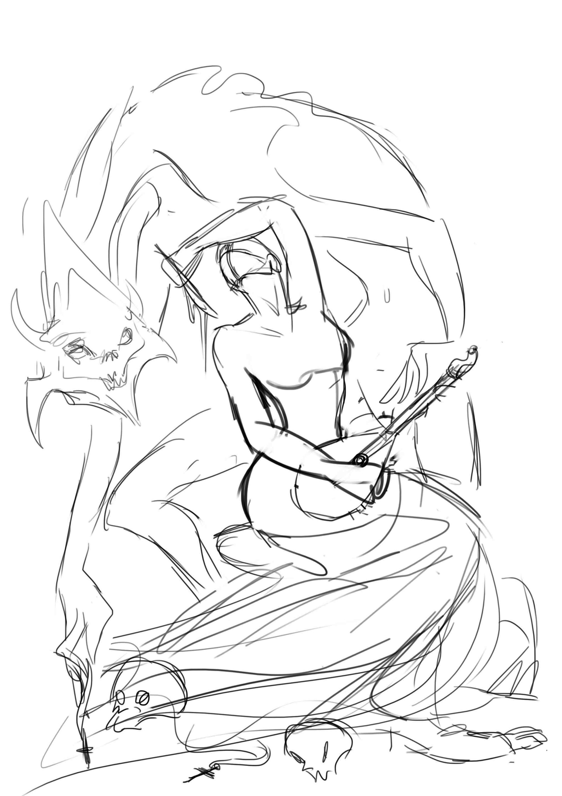 Shellz art the cittern player wip 4 5