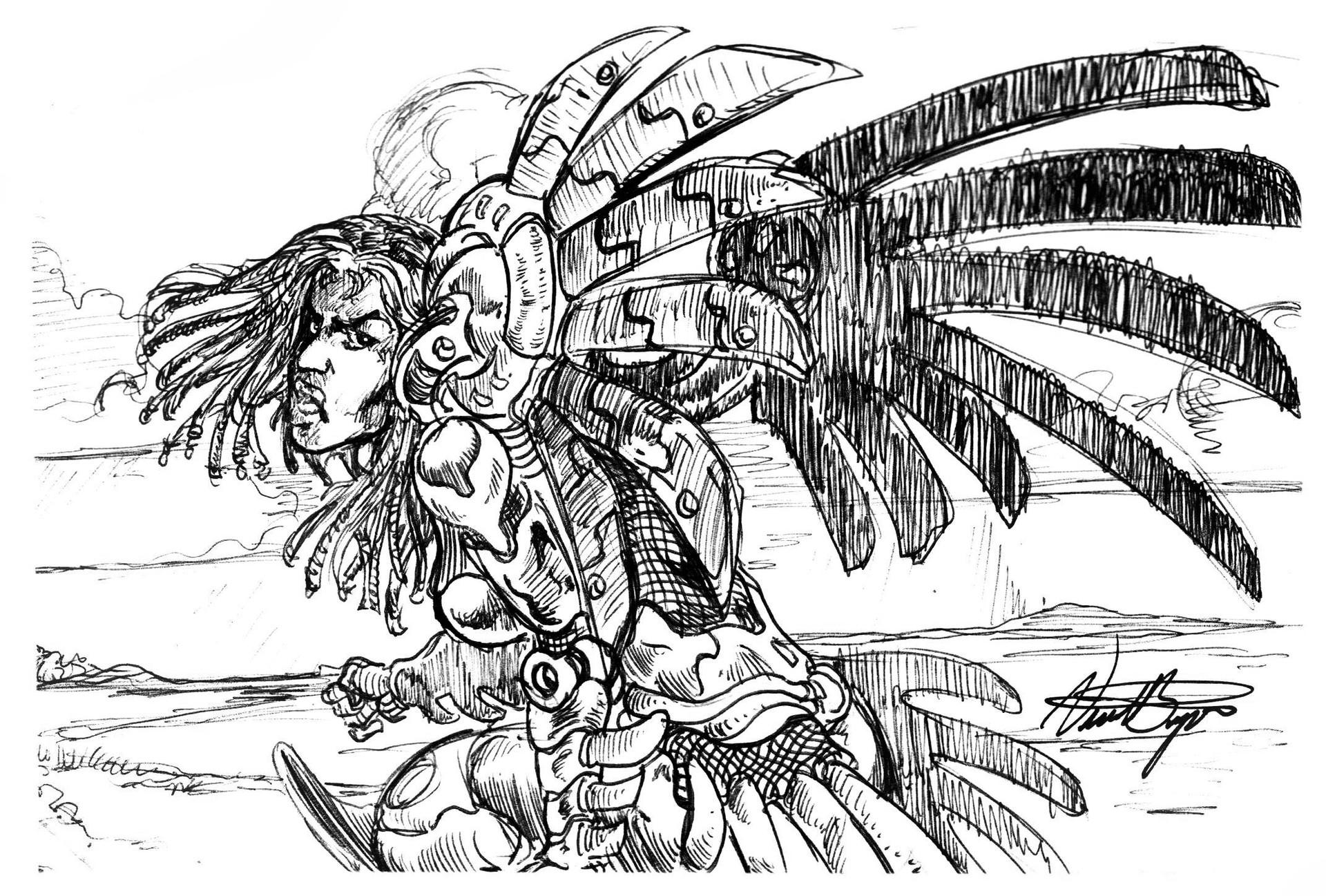 Vincent bryant inktober 05 armoured sentry sketch