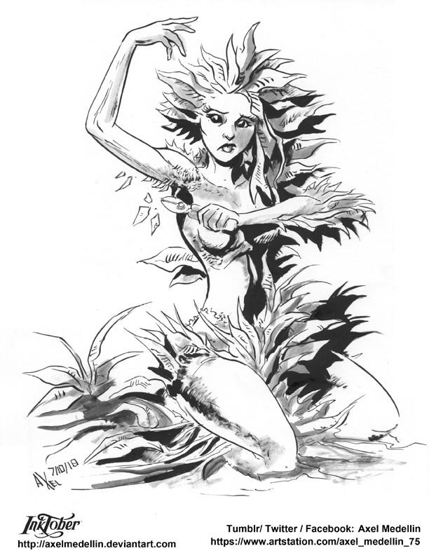 Inktober 7, Plant Girl