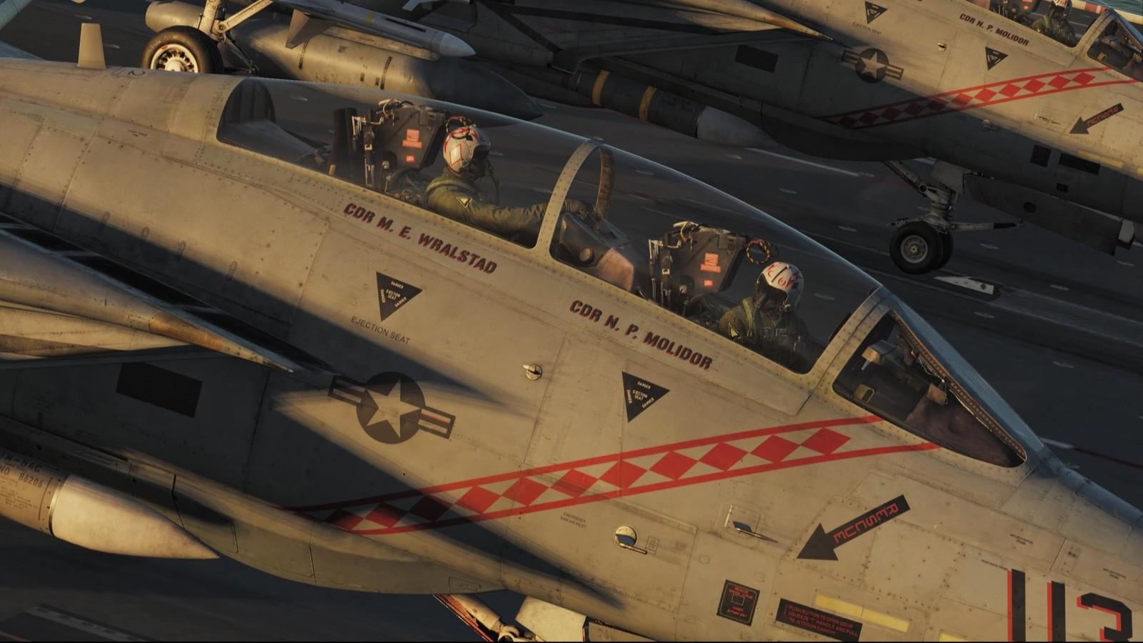 Finally! F-14 pilots in their cockpit. Pretty beautiful shot.