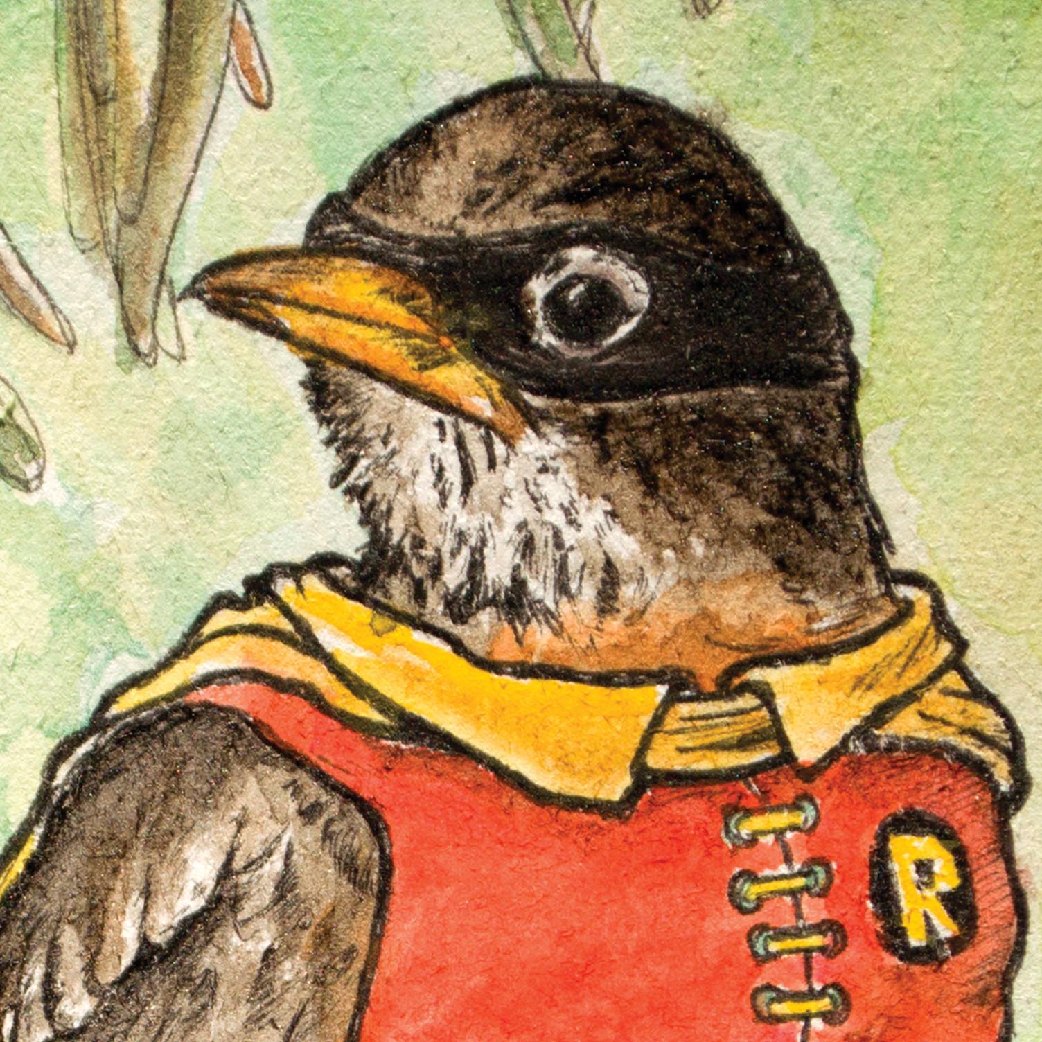 Robin's head.