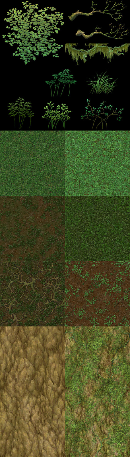 Texture samples, hand painted in Photoshop
