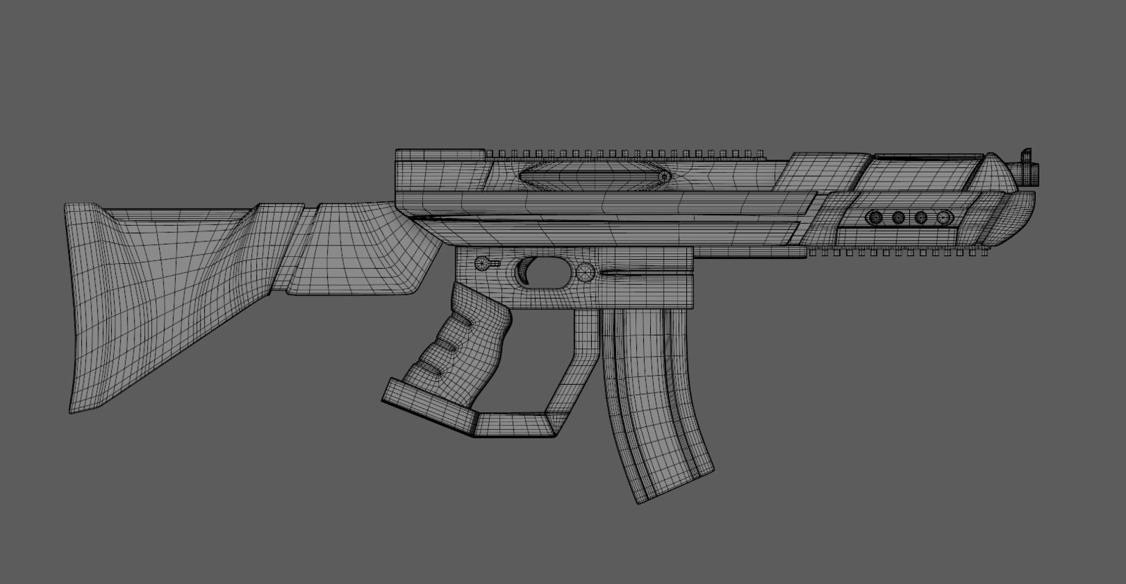 Wireframe of completed rifle model