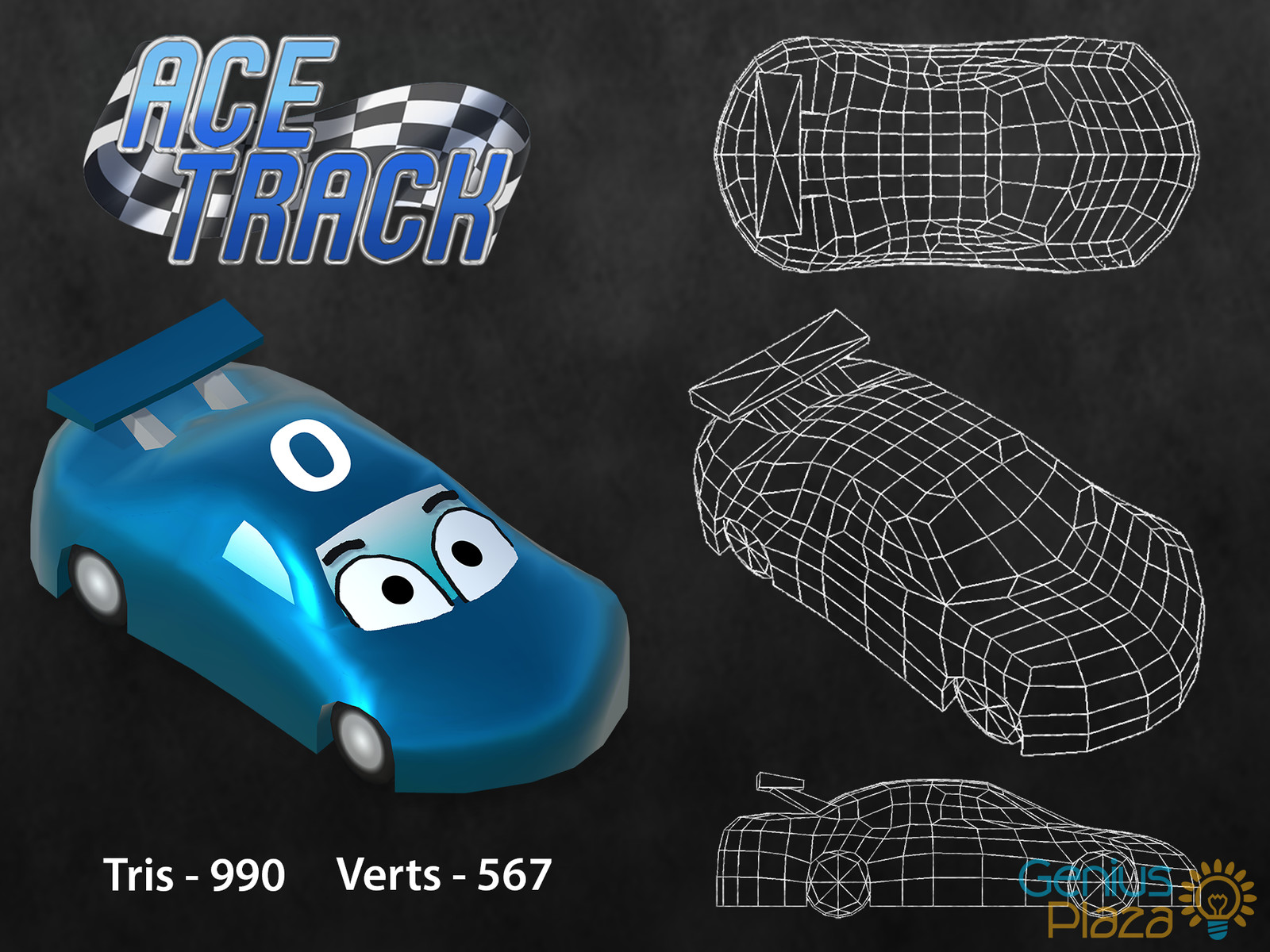 A model breakdown for the car character from AceTrack. A racing game where players answer questions from educational resources to get ahead of their competition on the track.