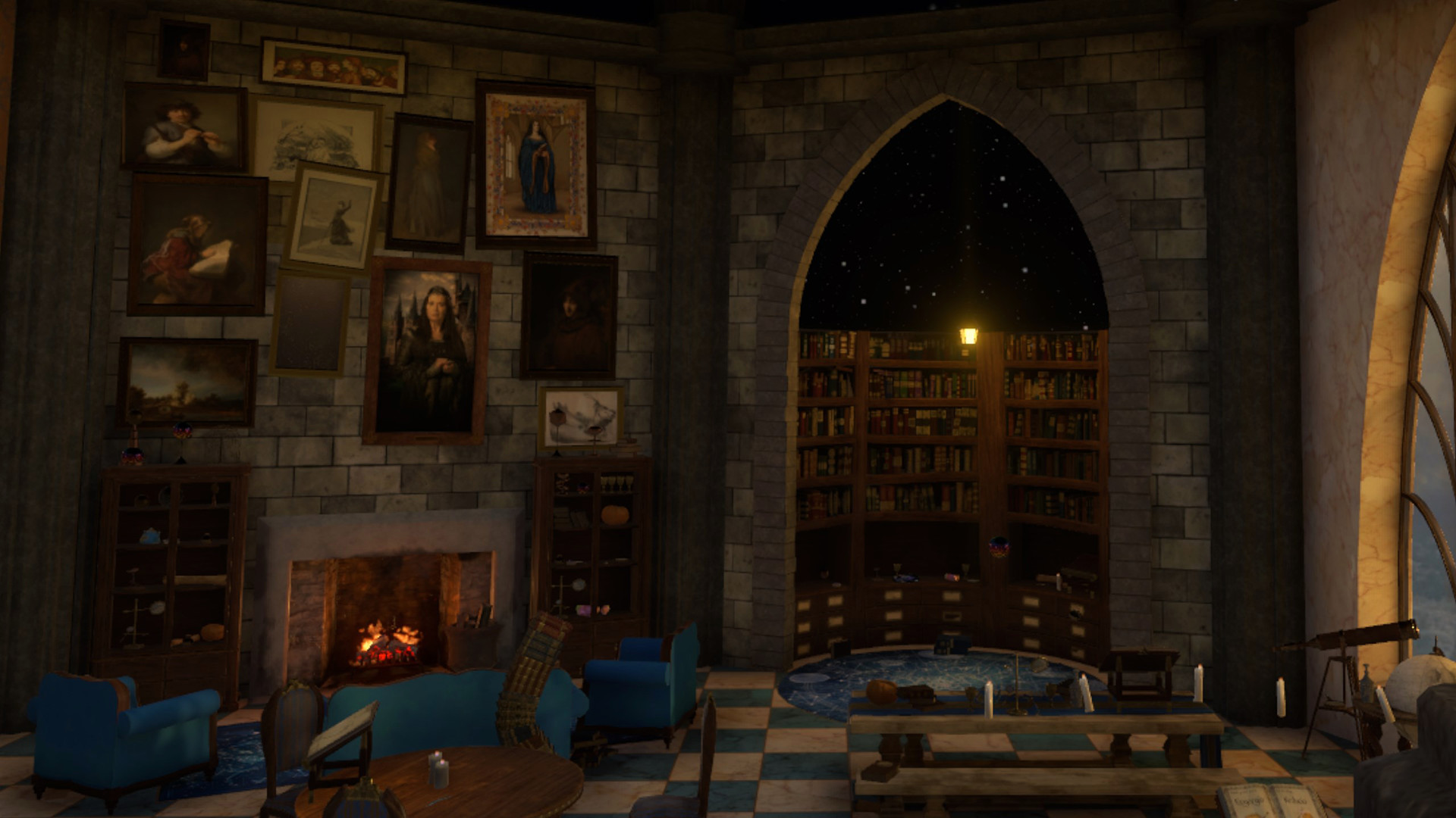 In-game screen capture - hearth, library