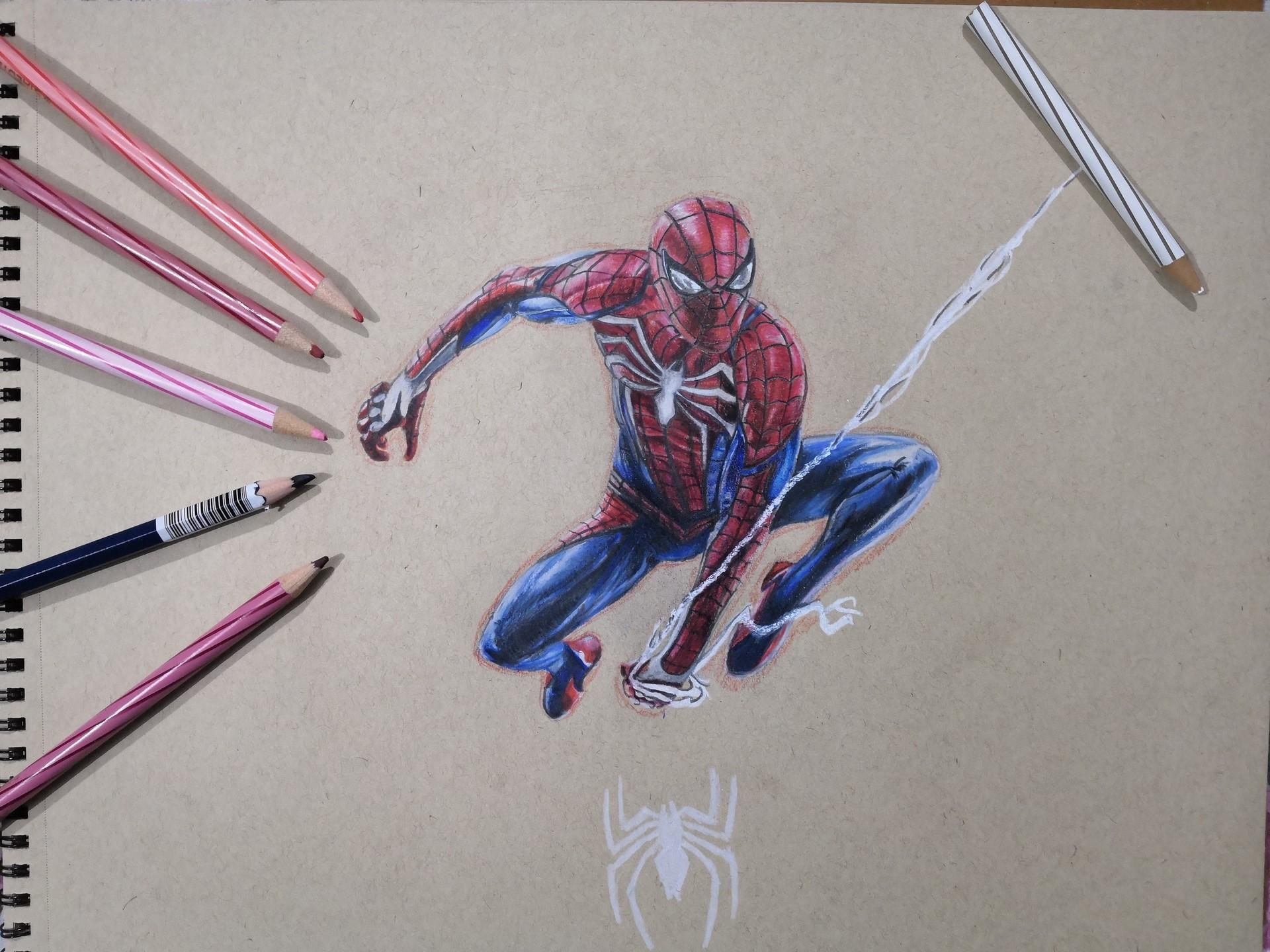 Himanshu pandey spiderman ps4 colored pencil sketch
