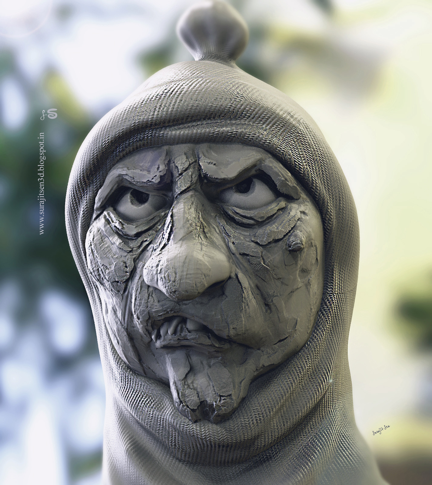 Surajit sen angry man rough sculpt by surajitsen