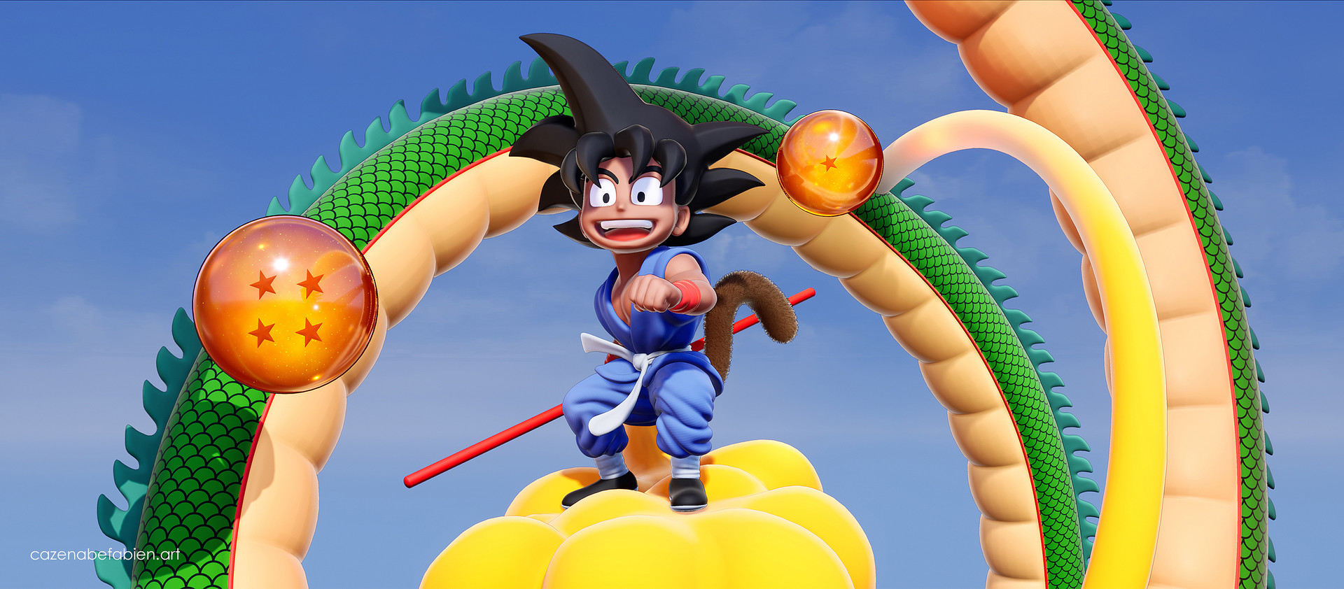 Fabien cazenabe sangoku dragon ball sculpt zbrush unreal 3d 09