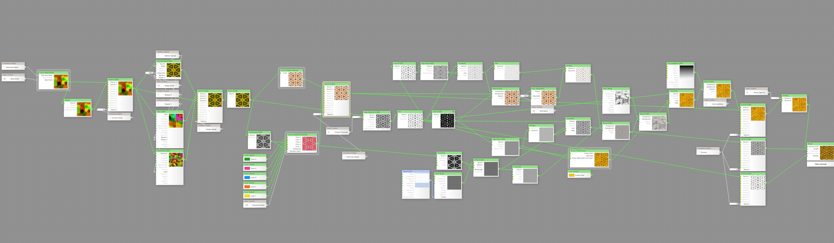 Here's a really hard to see image of that node structure in FilterForge.
