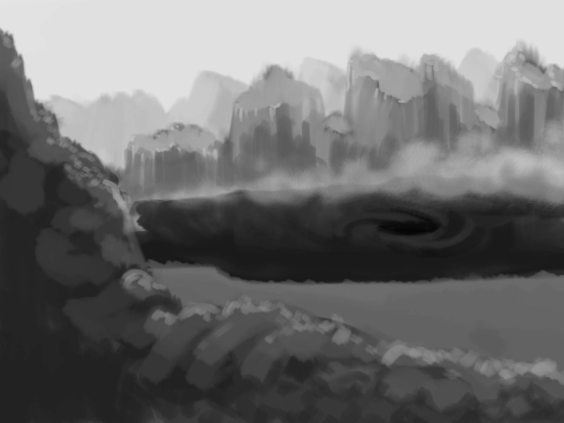 early sketch of the mountains