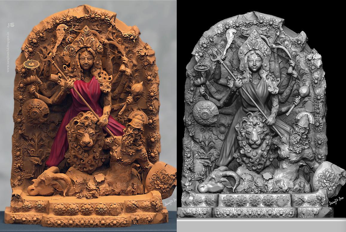 Surajit sen rudrani durga digital sculpt by surajitsen 14102018 gry