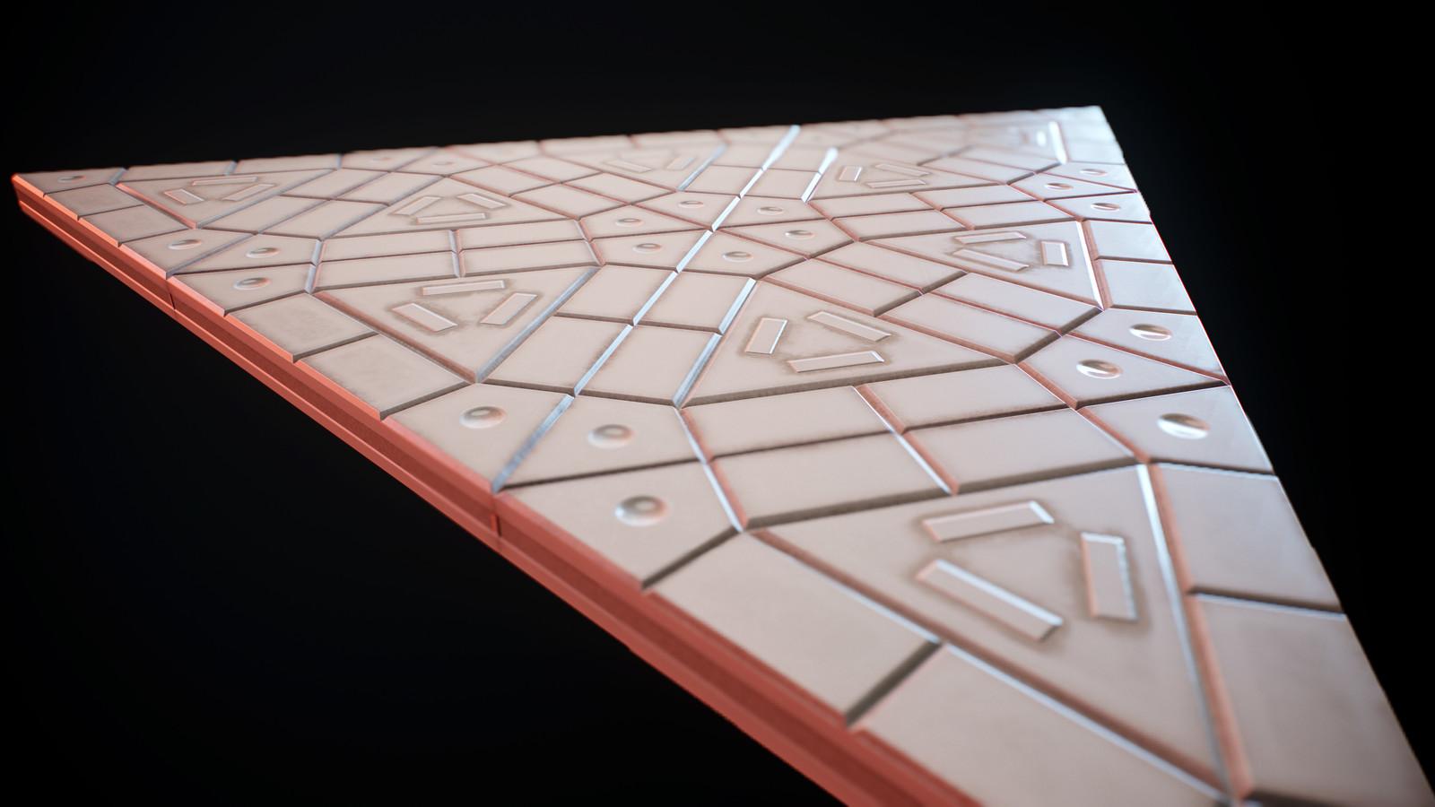 Triangular plastic ground close up