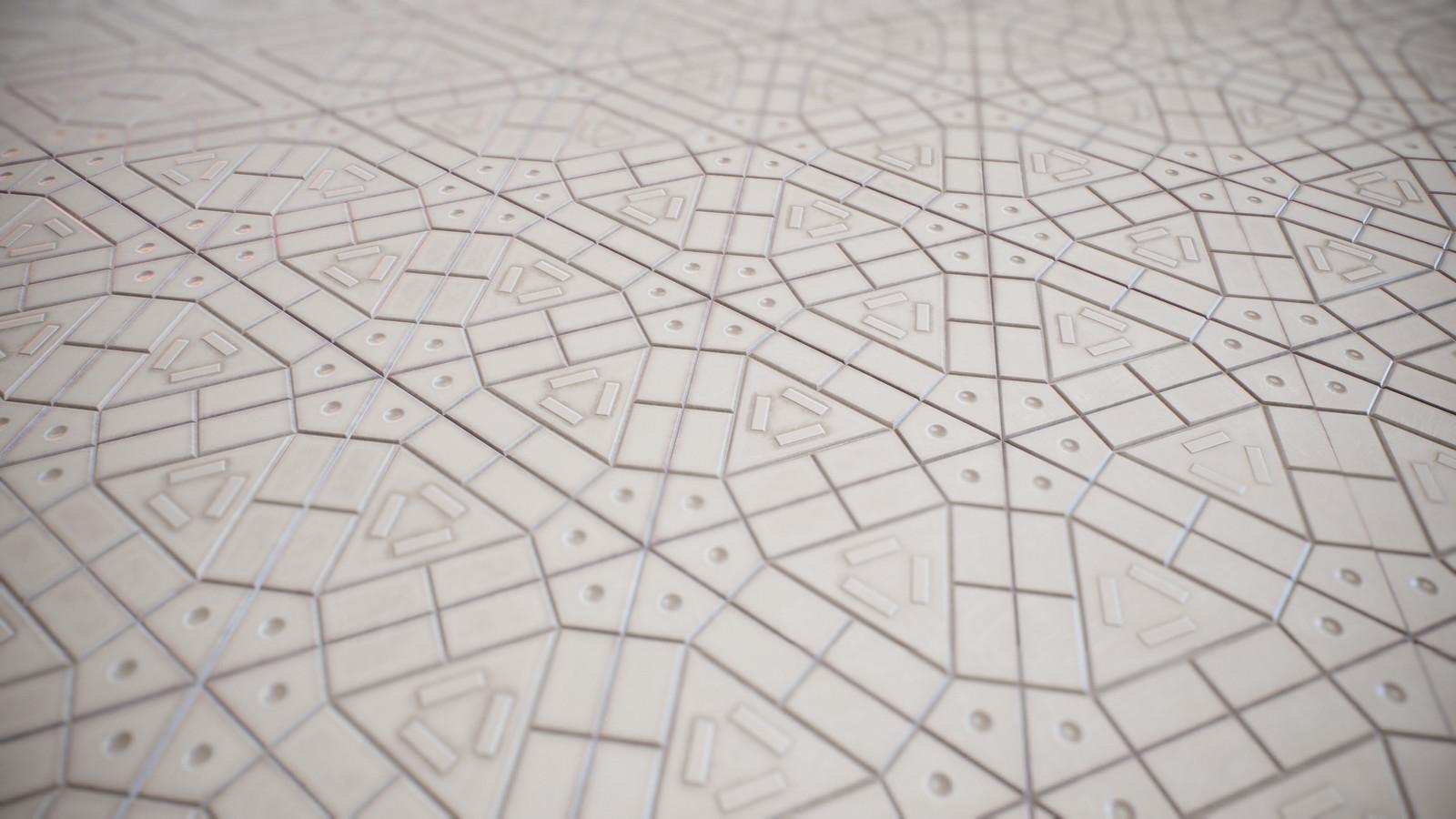 Triangular plastic ground tiled