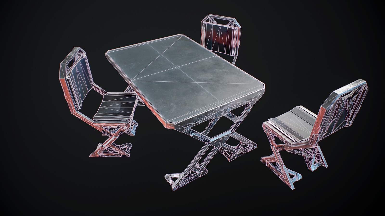 Table and chairs wireframe