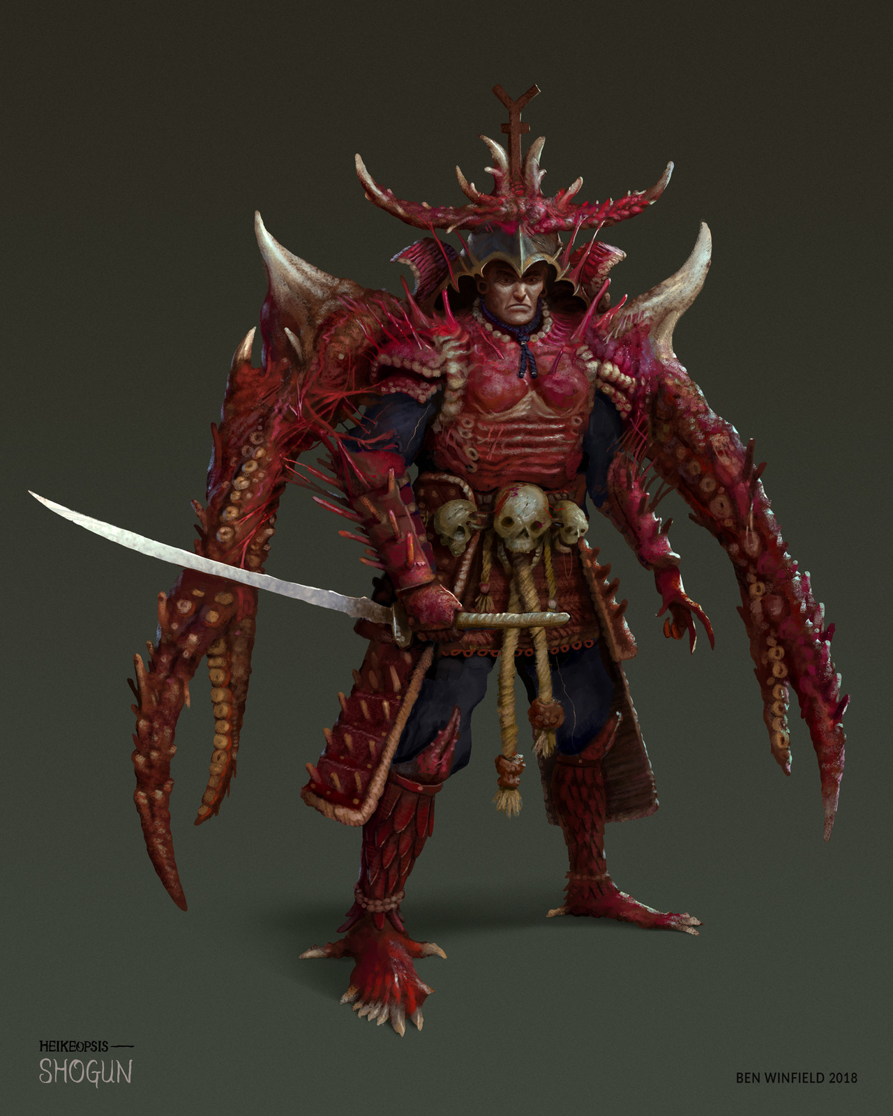 "Have received power from the Emperor, the Shogun went on a merciless hunt and destruction of the ""meat crabs"". The carcasses of the fallen enemy were dismembered and appropriated as armour for the Shogun's army."