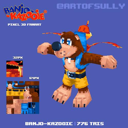 Banjo-Kazooie Lowpoly Pixel Fanart