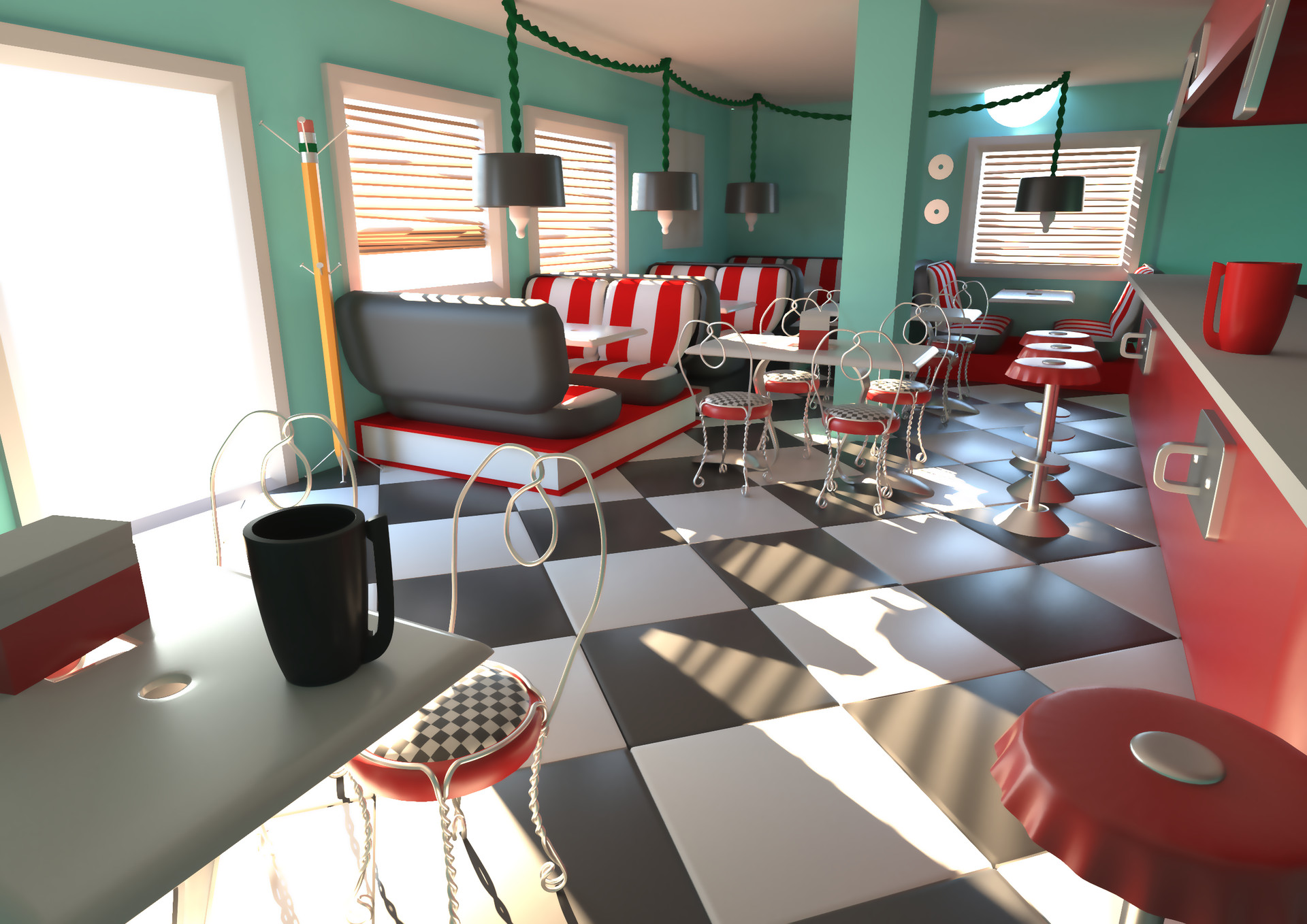 Diner scene - 3D Render in 3DS Max with V-Ray