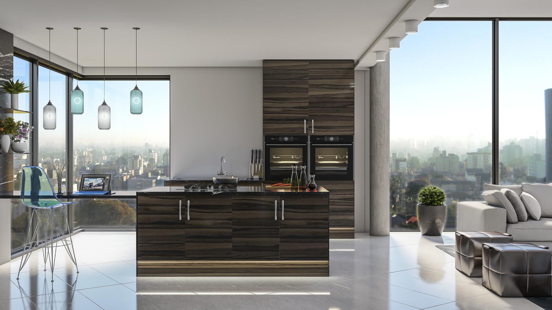 Lucy Kisielewska Japanese Pear Modern Apartment Kitchen Design