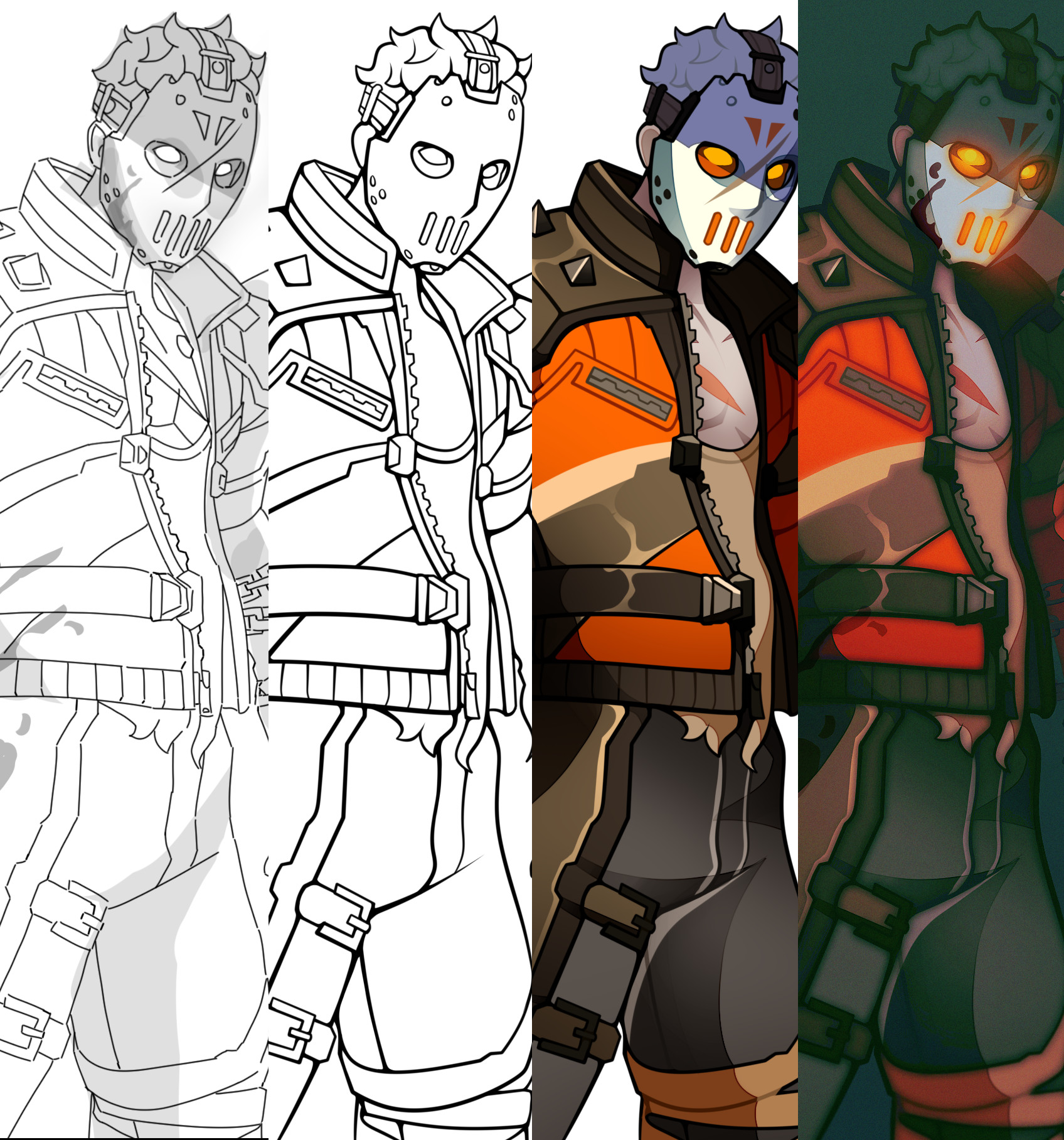 The process of the illustration.
