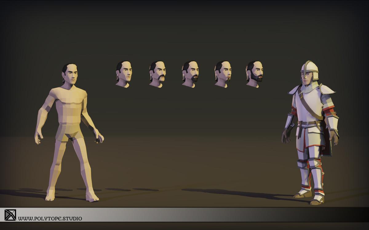 Polytope studio pt medieval lowpoly armor sets start armor