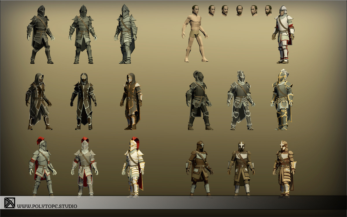 Polytope studio pt medieval lowpoly armor sets all