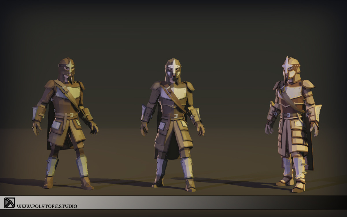 Polytope studio pt medieval lowpoly armor sets modular set3