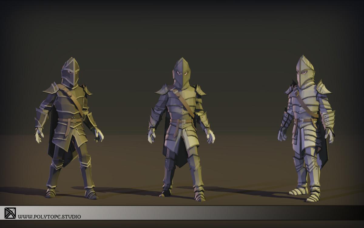 Polytope studio pt medieval lowpoly armor sets modular set4