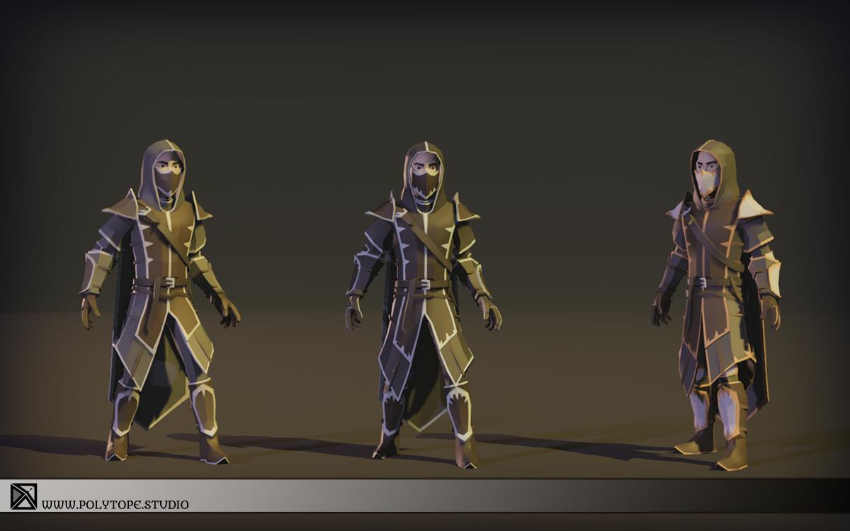 Polytope studio pt medieval lowpoly armor sets modular set5