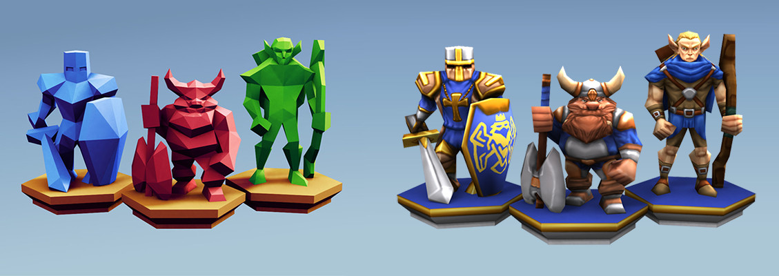 Very low poly with 360 polys for the knight and up to 490 for the dwarf