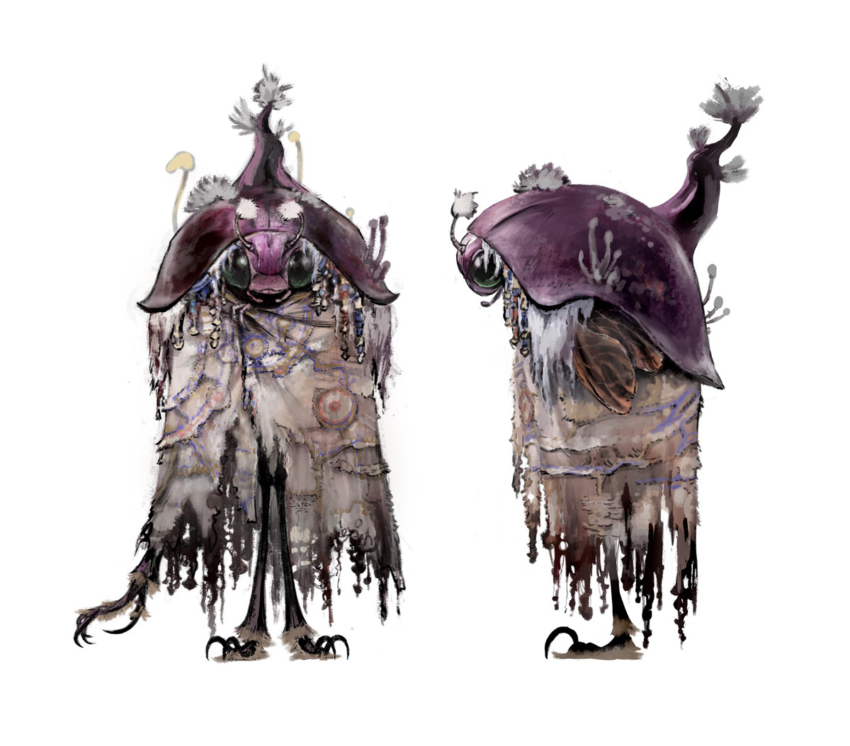 They have breeding fungi in their bodies and twist their hyphae out of their mouths to make a cape. The body has 6 legs. Hold the cape with the smallest arm at the top. 