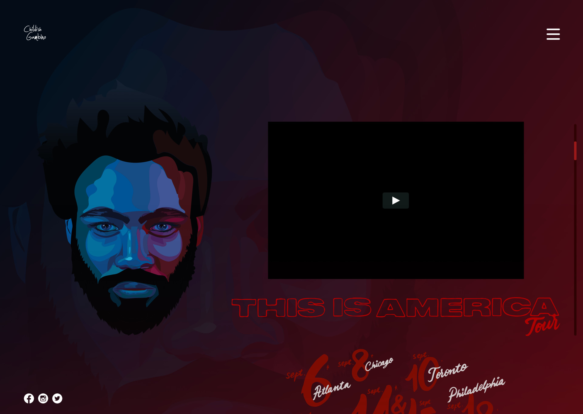 A custom design for Childish Gambino's official website.