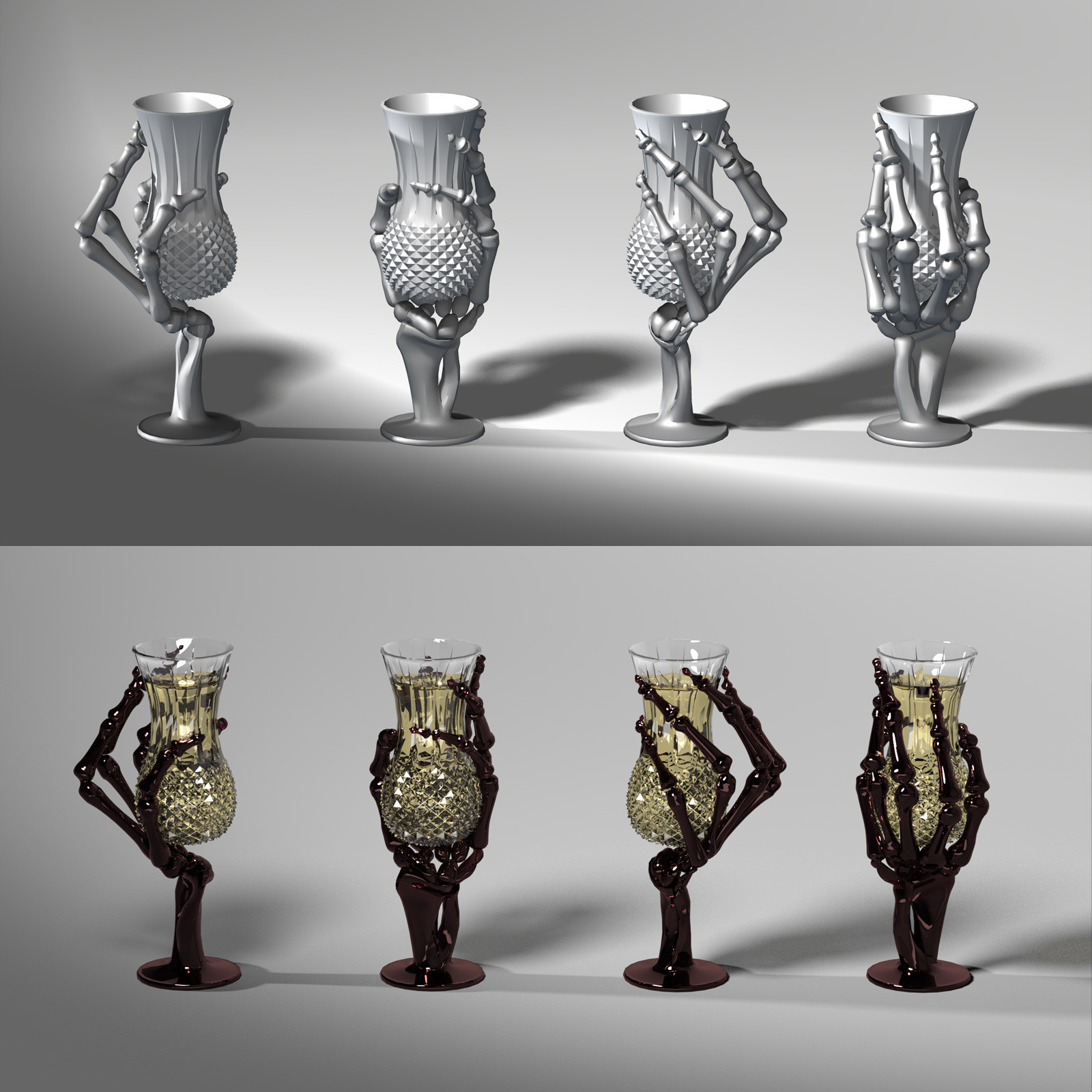 This is a 360 degree turnaround of the champagne flute, rendered in SuperFly/Cycles.