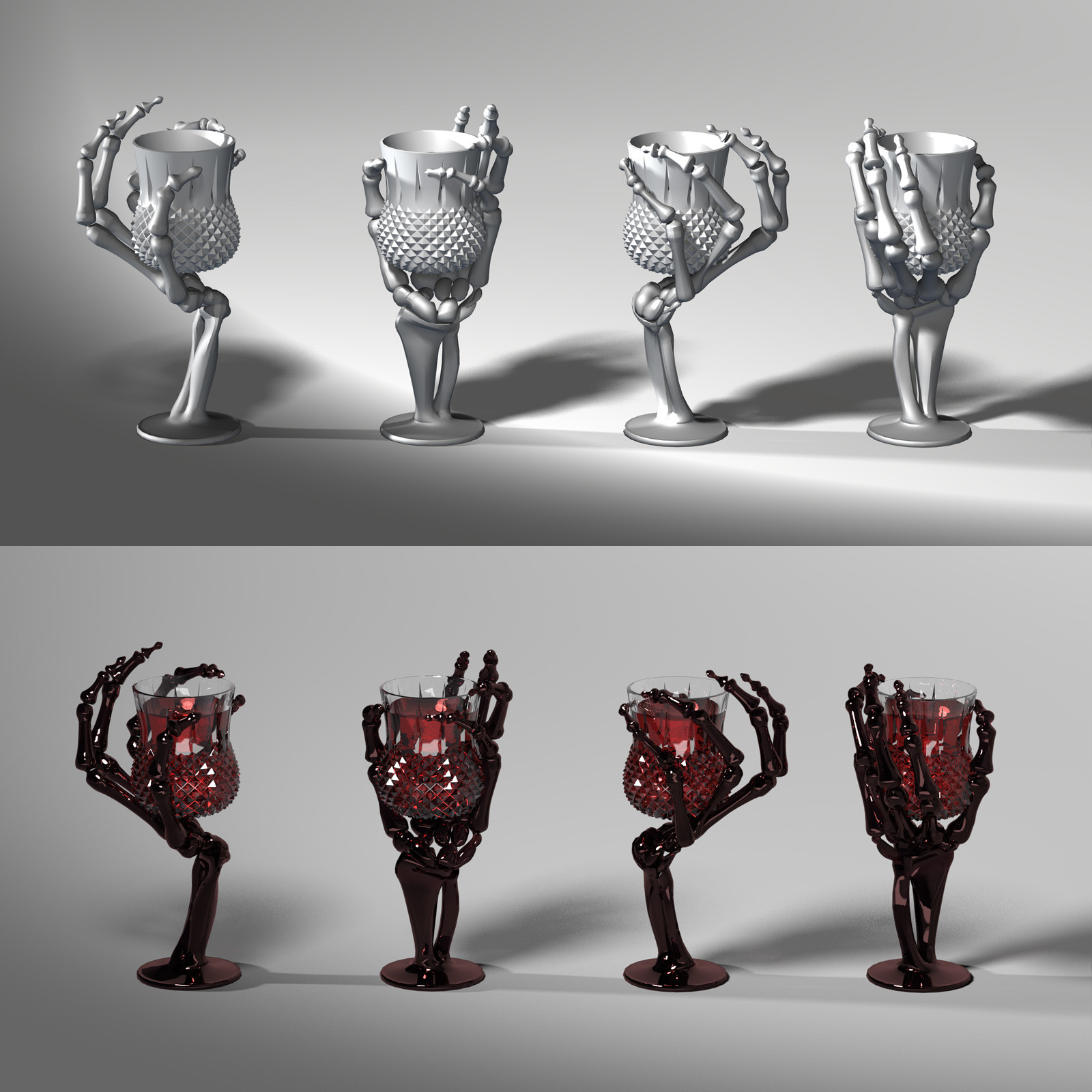 This is a 360 degree turnaround of the tulip-style wine glass, rendered in Blender/Cycles.