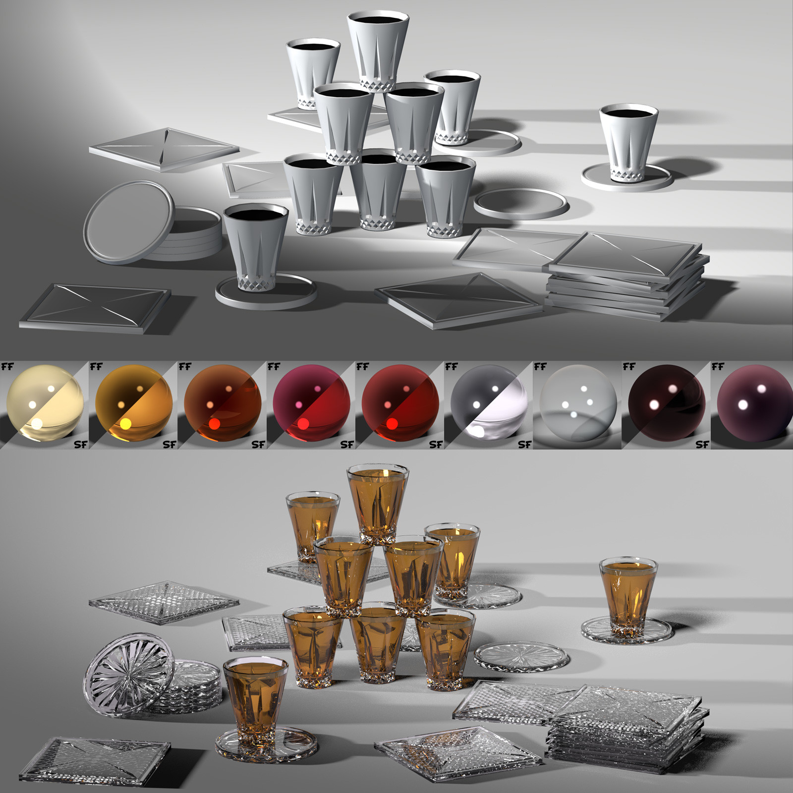 This showcases the shotglasses, coasters, and materials associated with Superfly/Cycles in Poser.