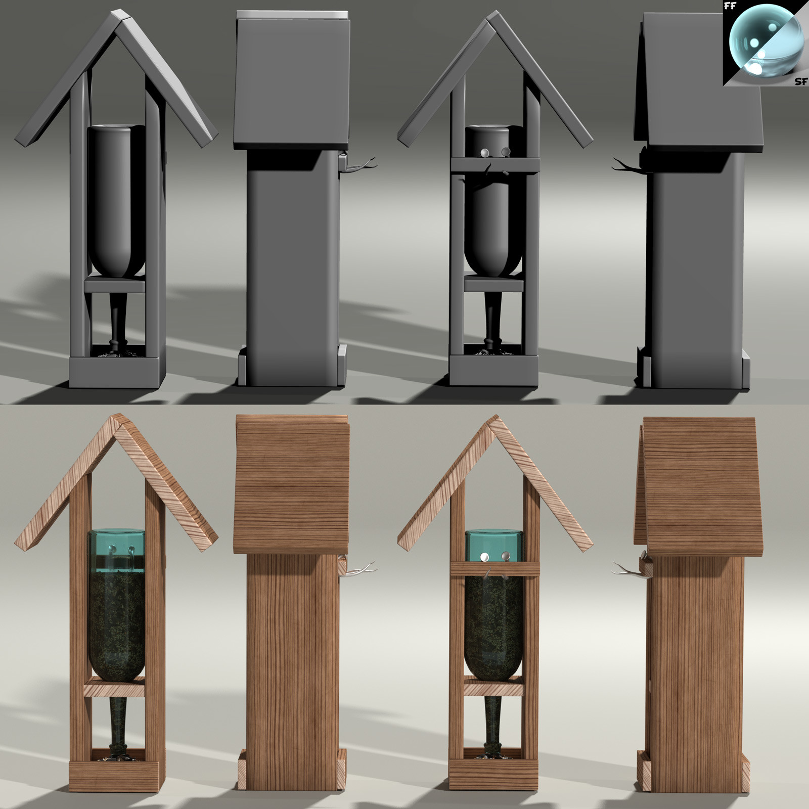 This is a 360 degree turnaround of the wine bottle-based bird feeder, rendered in Poser with SuperFly/Cycles.