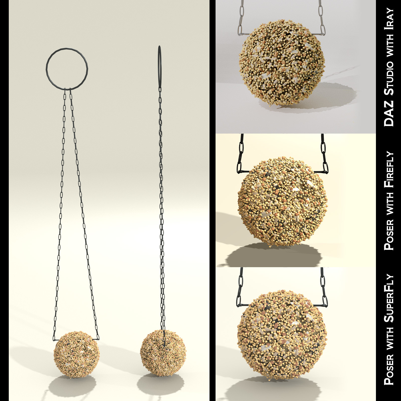 This shows the front and side views of the ball-shaped seed cakes, along with closeup examples of how it looks inside each render engine.