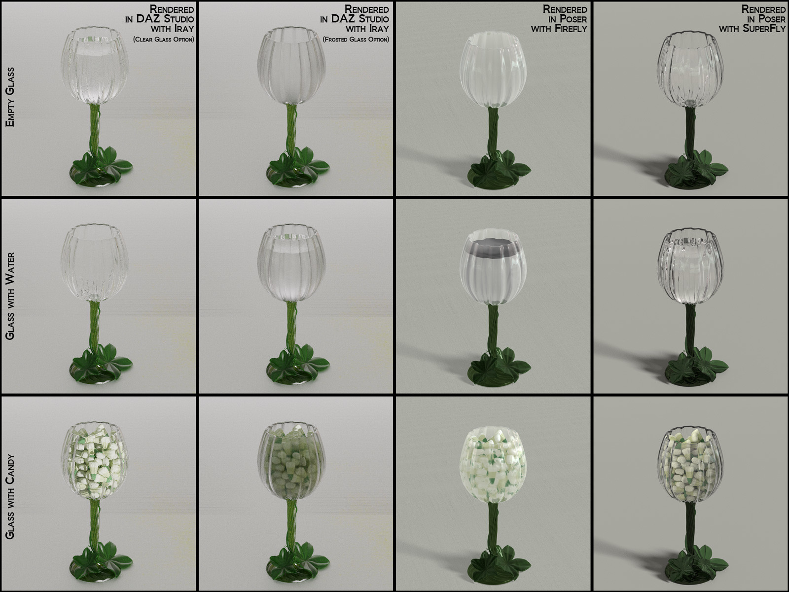 This shows the available options for the wine glass, with the differing materials available in each render engine.