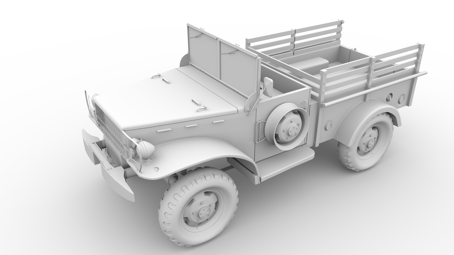 I plan to utilize this angle for the final renders once textures and the rest of the scene are complete. I avoided going into heavy details on the back, far side, and underside of the vehicle to save on rendering time. I kept just visible details.