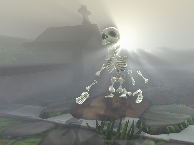 It assembles itself from a pile of bones as the player comes near