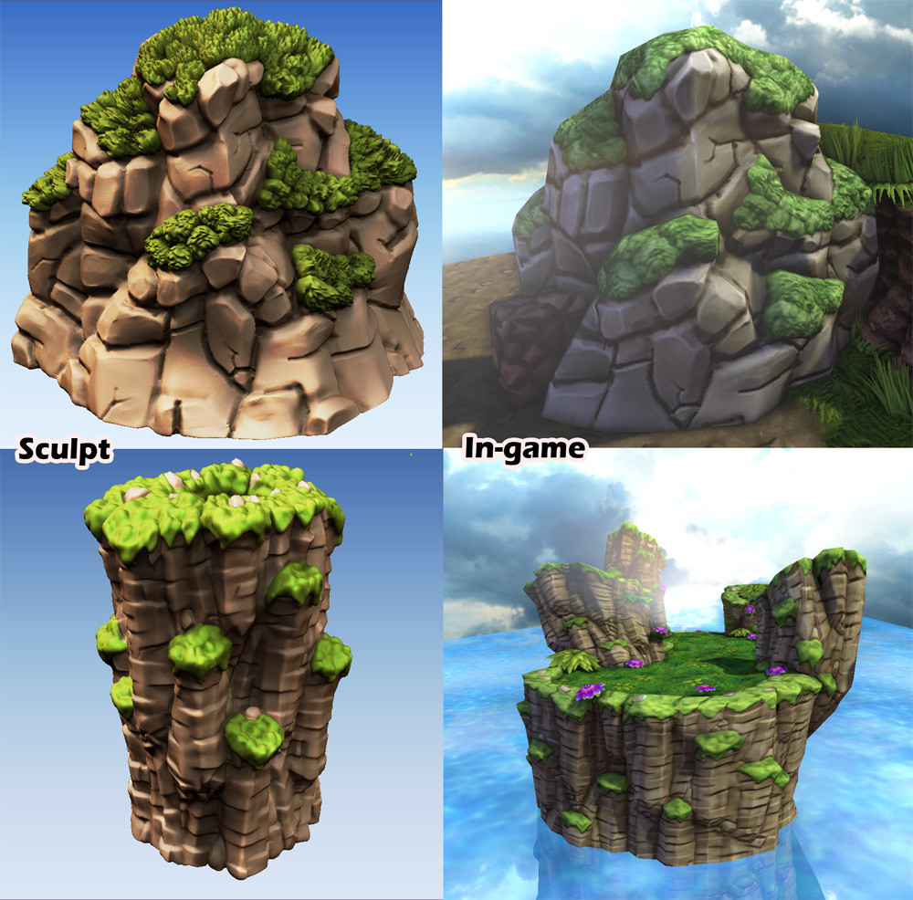 Most of the environment assets and textures were sculpted in Zbrush. The bottom piece is baked to a seamless mesh/texture and then used to build any isle cliff chunk.
