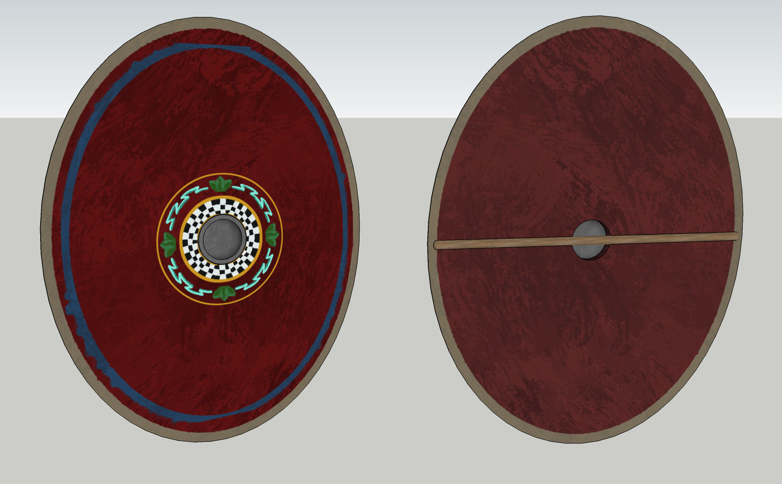 3d model of shield in SketchUp w/ rough texture hand-painted in Photoshop to paintover on model