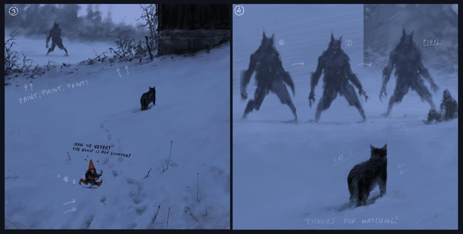 Jakub rozalski hunters wolfpack process01