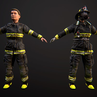 Firefighter Character 3D Model